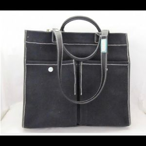 Tiffany & Co. Black Leather Trimmed Jitney Tote